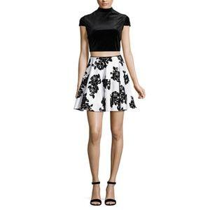 City Triangles white/blk velvet floral 2pc dress